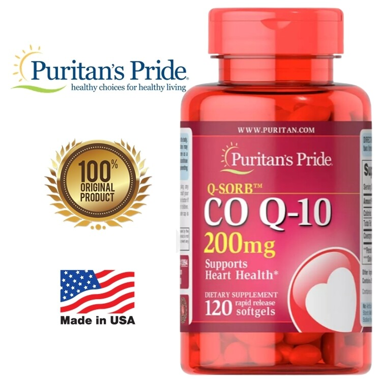 [120 Softgels] Puritans Pride Co Q10 - 200 Mg Q-10 โคเอนไซม์ คิวเท็น บำรุงหัวใจ Coq10  ของแท้ 100% นำเข้าจากusa.