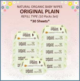 Natural Organic Original Plain Baby Wipes (Refill Type, 10x 30 Sheets)-