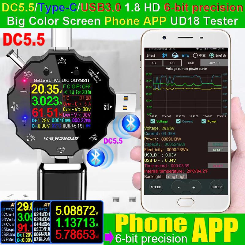 เครื่องวัดไฟ Atorch Ud18 Usb 3.0 18in1 Usb Tester App Dc Digital Voltmeter Ammeter Voltimetro Power Bank Voltage Detector Volt Meter Electric Doctor.