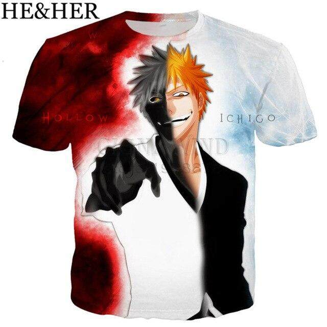 New 3D Print Anime Bleach Kurosaki Ichigo Women Men T-Shirt Short Sleeve Tee Top