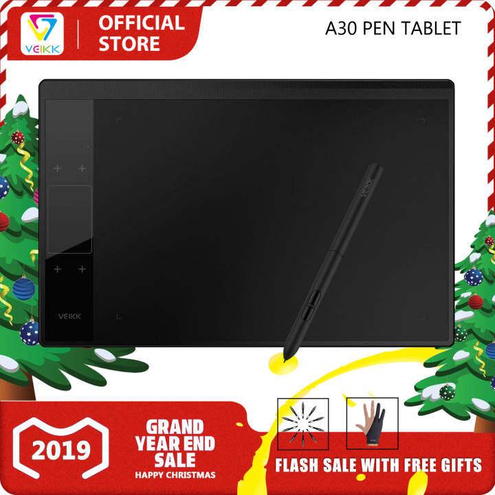 (VEIKK ร้านค้าทางการของ)VEIKK A30 เมาส์ปากกาดิจิตอล สำหรับวาดรูปพร้อมปากกาสไตลัส ไม่ต้องใช้แบตเตอรี่  ความไวต่อแรงกด 8192,ขนาด 10 x 6 นิ้ว