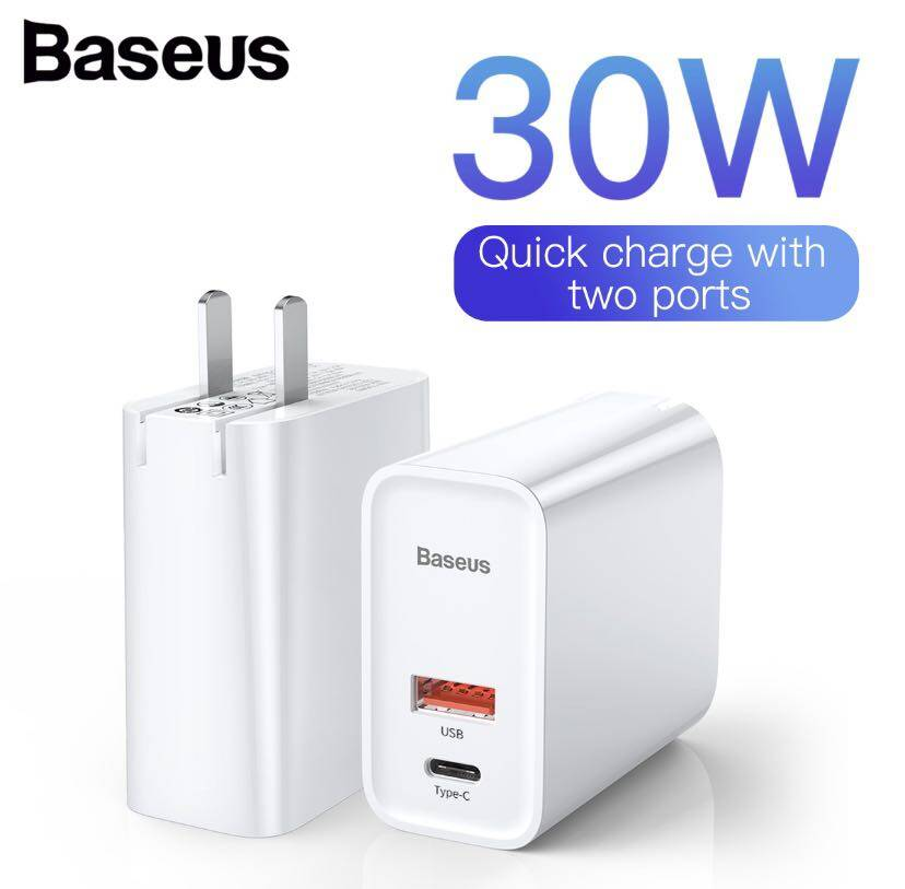 Baseus หัวชาร์จเร็ว Adapter 2 Port (qc3.0 + Pd 30w + Supercharge) Quick Fast Charger.