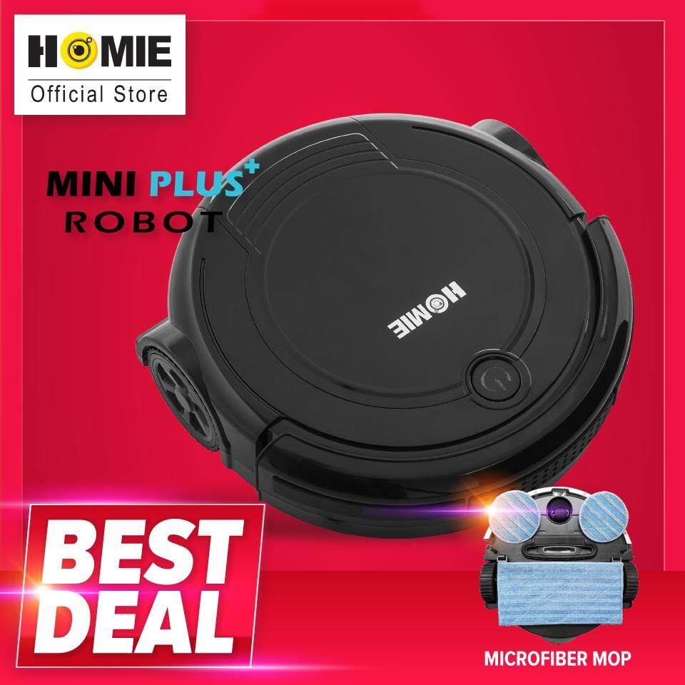 แนะนำ  HOMIE หุ่นยนต์ดูดฝุ่น รุ่น Mini Plus พร้อมผ้าถูไมโครไฟเบอร์ - สีดำ ของแท้