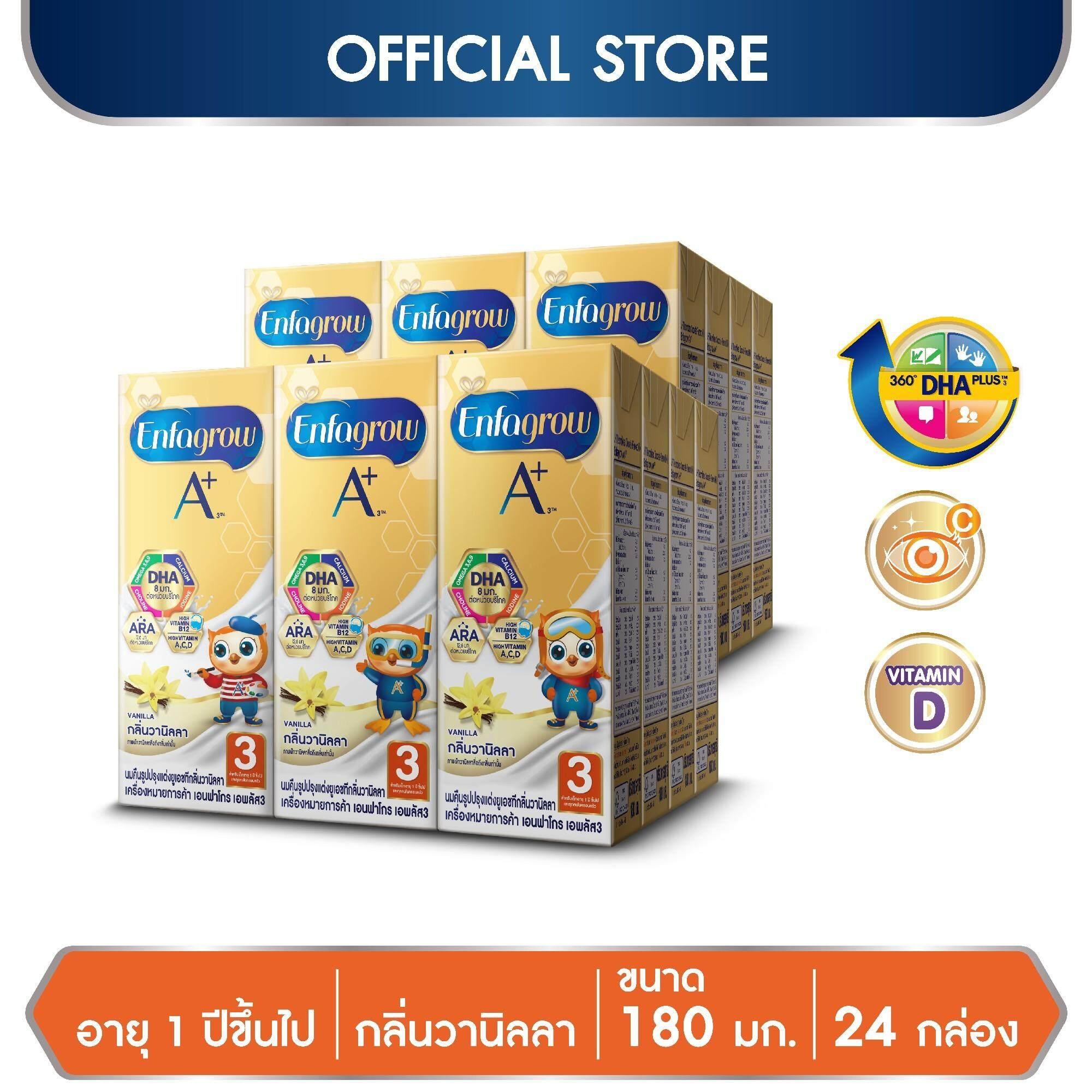นมกล่อง ยูเอชที Enfagrow เอนฟาโกร เอพลัส สูตร 3 รสวานิลลา Uht สำหรับ เด็ก 24 กล่อง 180 มล. By Lazada Retail Enfagrow.