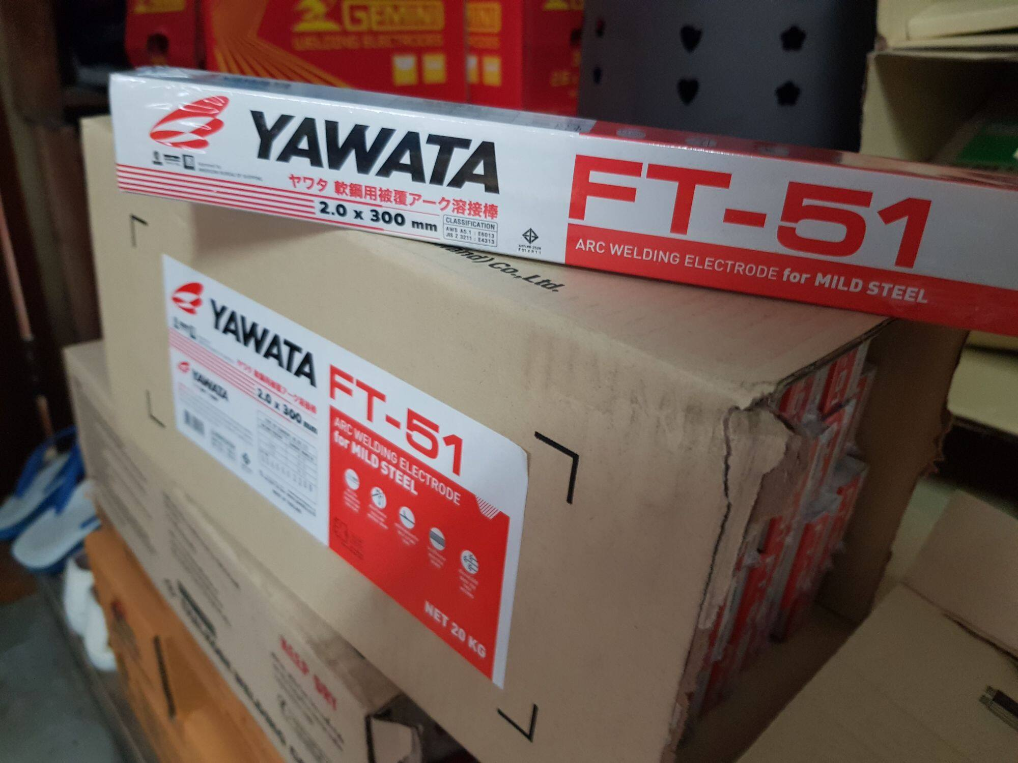 Yawata ลวดเชื่อมเหล็กบาง ยาวาต้า เอฟที51 ขนาด 2.0มม. กล่องละ 1kg ใช้ง่าย แนวเชื่อมสวยเชื่อมเหล็กบางได้ดีมาก เหมาะกับงาน DIY  yawata ft51 2.0