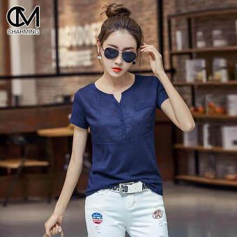 CM เสื้อแฟชั่นผู้หญิง แขนสั้น ผ้า Cotton100% ดีไซน์สวยเก๋ High quality รุ่น C114