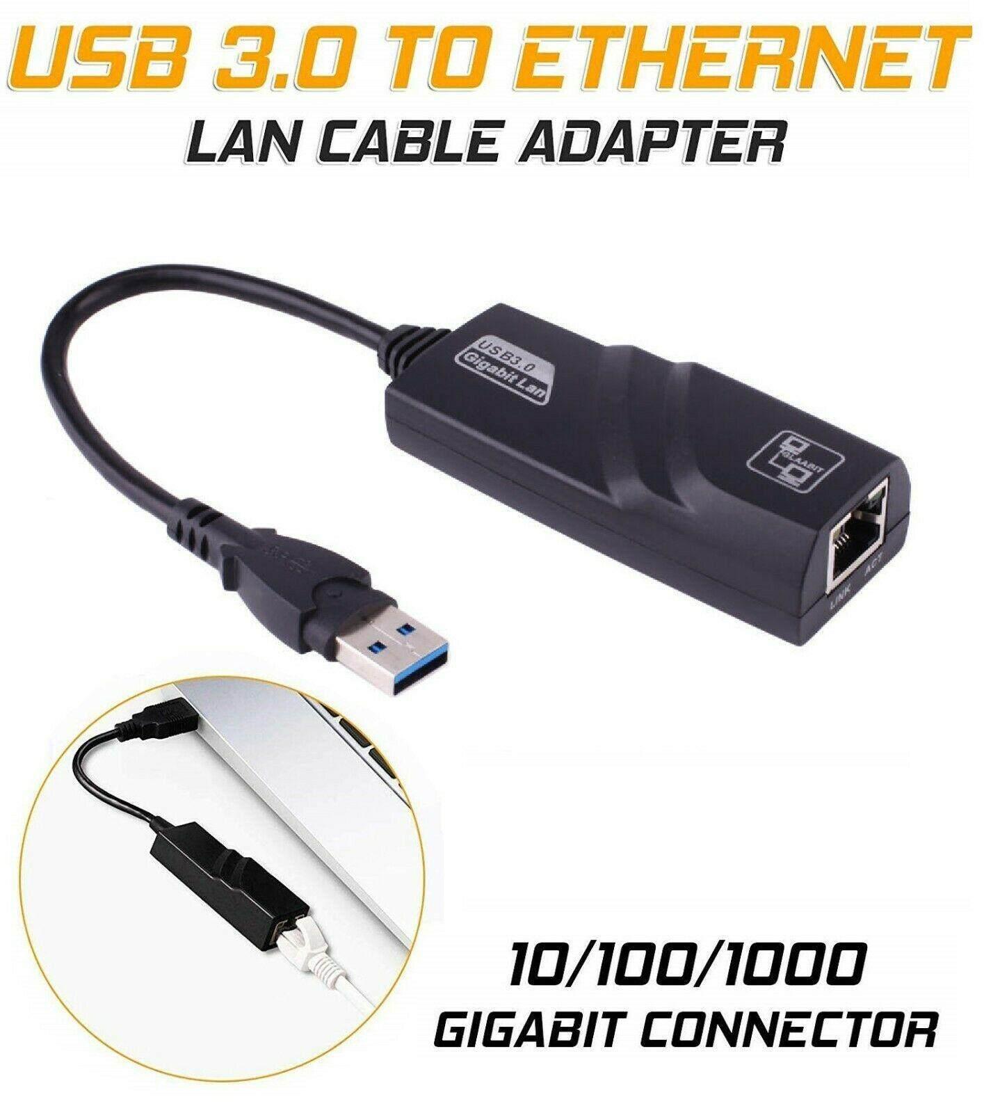 สายแปลงusb 3.0 to Lan RJ45 Gigabit Ethernet for windows mac (Black)