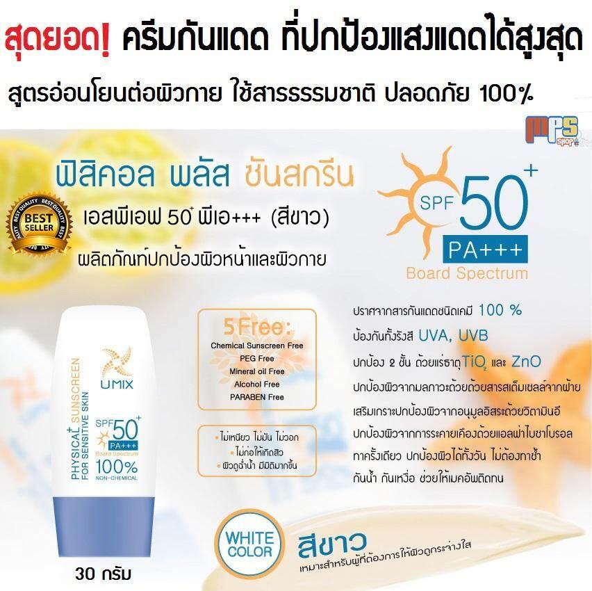 ครีมกันแดด ที่ปกป้องแสงแดดได้สูงสุด สูตรสีขาว Sunscreen SPF 50+ PA+++ (White Color)