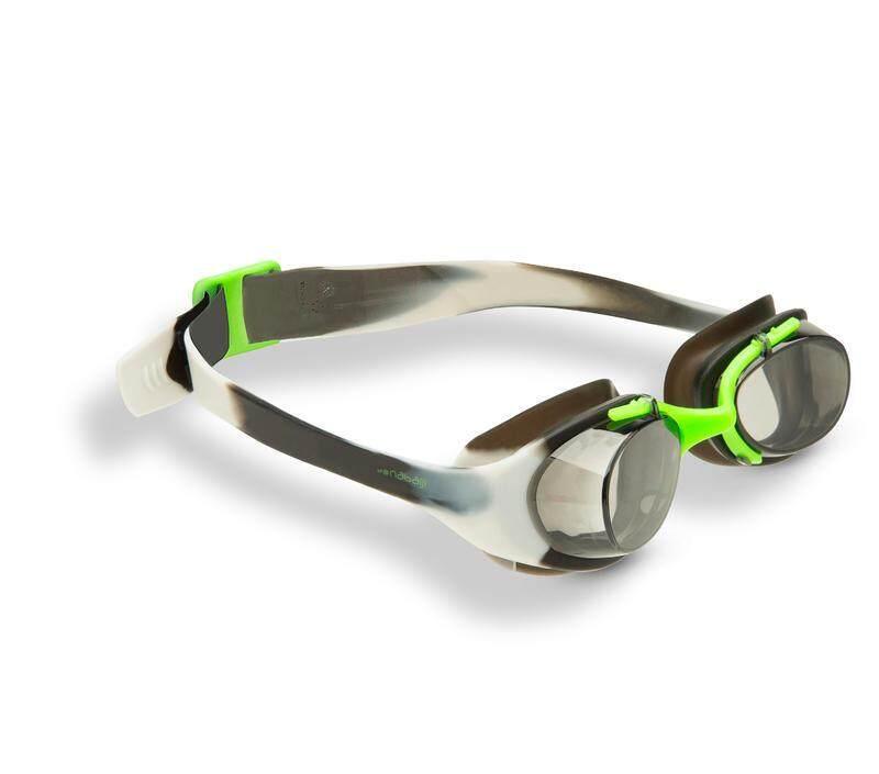 แว่นตาว่ายน้ำ รุ่น XBASE PRINT ขนาด S (สีเทาสลับดำ)