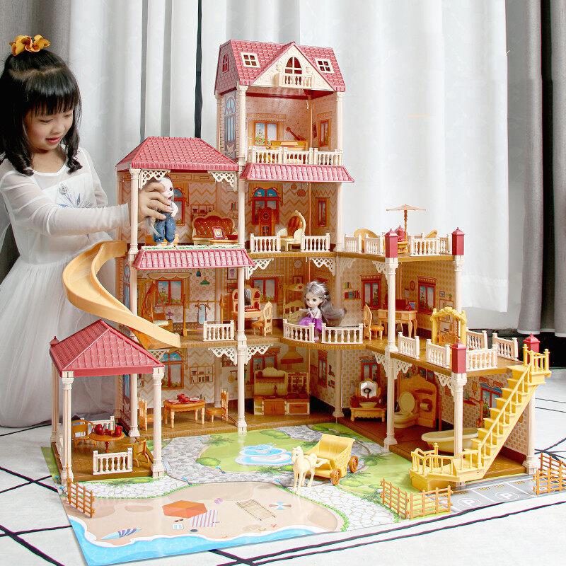 ของเล่นตุ๊กตา สาวบ้านตุ๊กตามีไฟled มีเฟอร์นิเจอร์ ของเล่นบ้านบาร์บี้ บ้านตุ๊กตาdiyมีตุ๊กตา2ตัว ของเล่นชุดปราสาทเจ้าหญิน 8031.