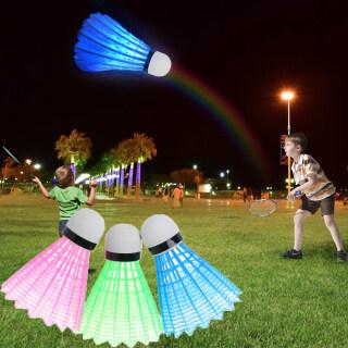 AOXIN 4 Quả Cầu Lông LED Phát Sáng Ban Đêm Nhiều Màu Sắc Ngoài Trời, Đào Tạo Bóng, Sáng Cầu Lông thumbnail