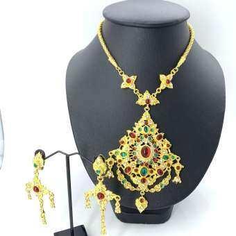 Vintage jewelry ชุดไทยสร้อยชุดต่างหู สร้อยคอ เพชรโบราณคลิปต่างหู-