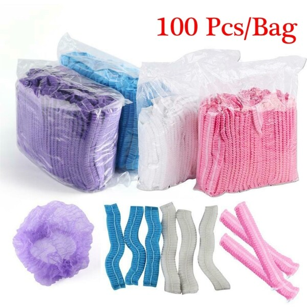 JUTBONG 100Pcs New Stretch Disposable Safety Supplies Sterile Hair Caps Non-Woven Catering Hat Dustproof Hair Nets
