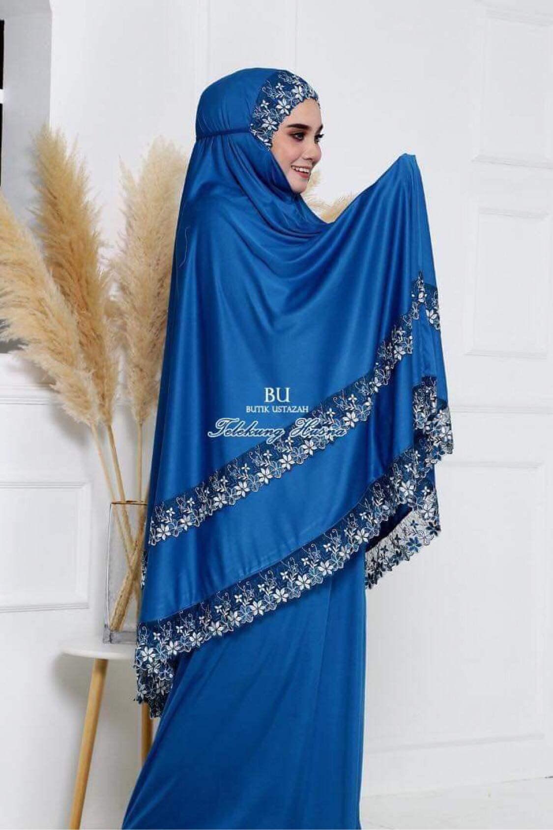 ผ้าละหมาด รุ่นลูกไม้สองชั้น ผ้าสวยไม่ร้อน สีไม่ตก.