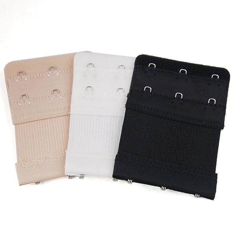 Women Bra 2 Row 3 Hook Extender Extension Elastic Back Clip Strap Replacement