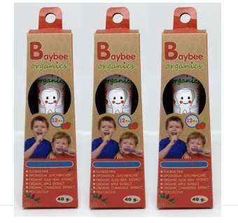 BAYBEE ยาสีฟันเด็ก โอเม็กคิดส์ กลิ่นสตอเบอร์รี่ ออร์แกนิค ปราศจากฟลูออไรด์  40g. (3 หลอด)-