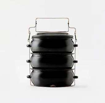 ShopChaMuch ปิ่นโตเคลือบดำ porcelain enamel 14 cm. 3 ชั้น-