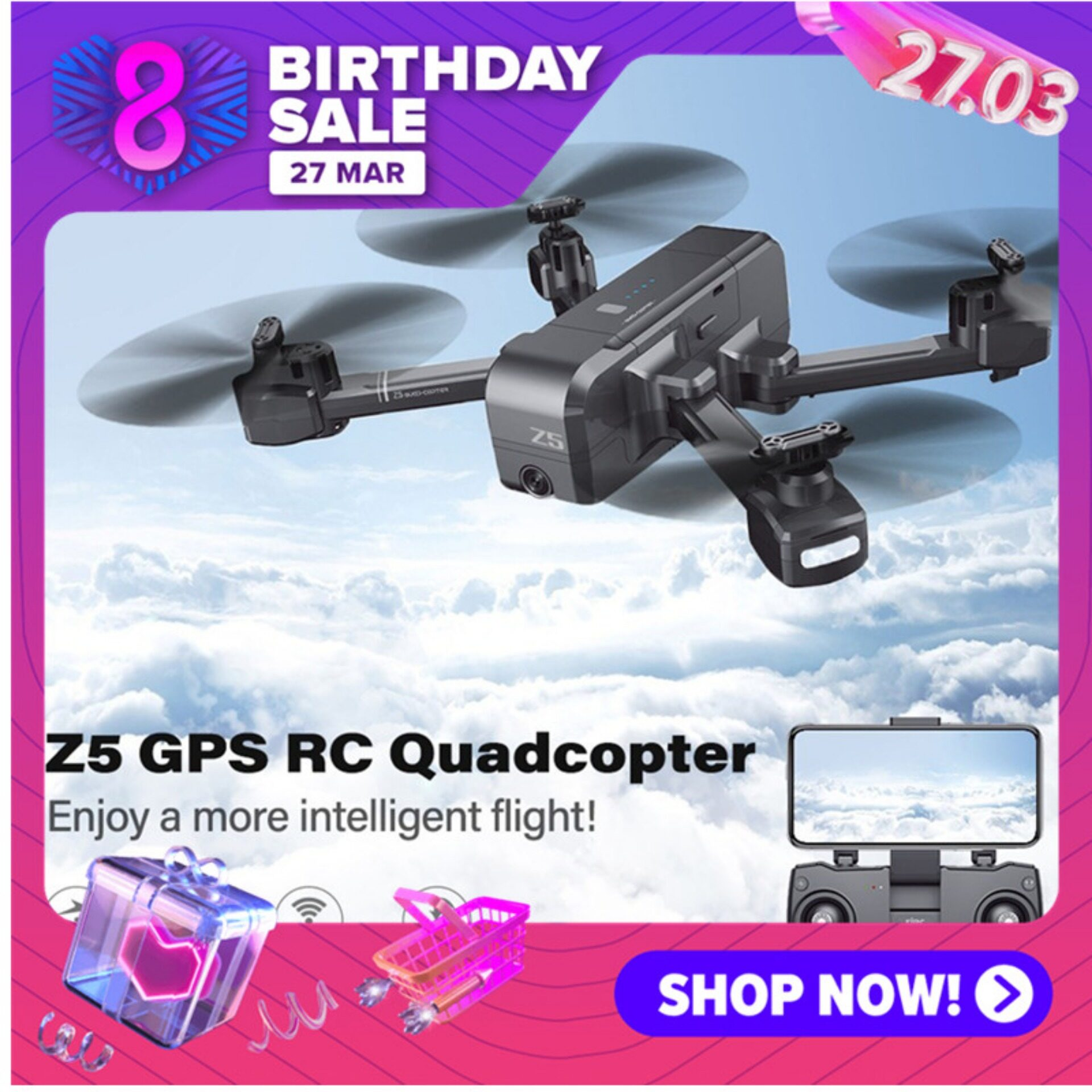 Gps Drone Z5 Foldable Drone 5g 1080p Rc Drone With Gps Auto Follow  Never Lose!.