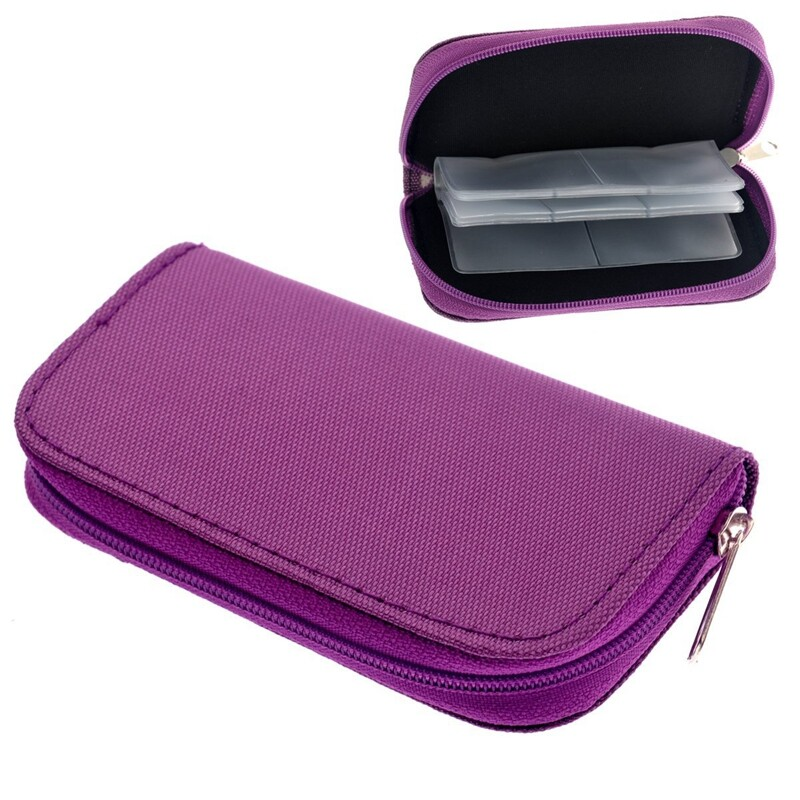 Giá Portable 22 Slots SD SDHC MMC CF Micro SD Memory Carrying Case Card Holder Pouch Case Zippered Storage Bag Protector (Purple)