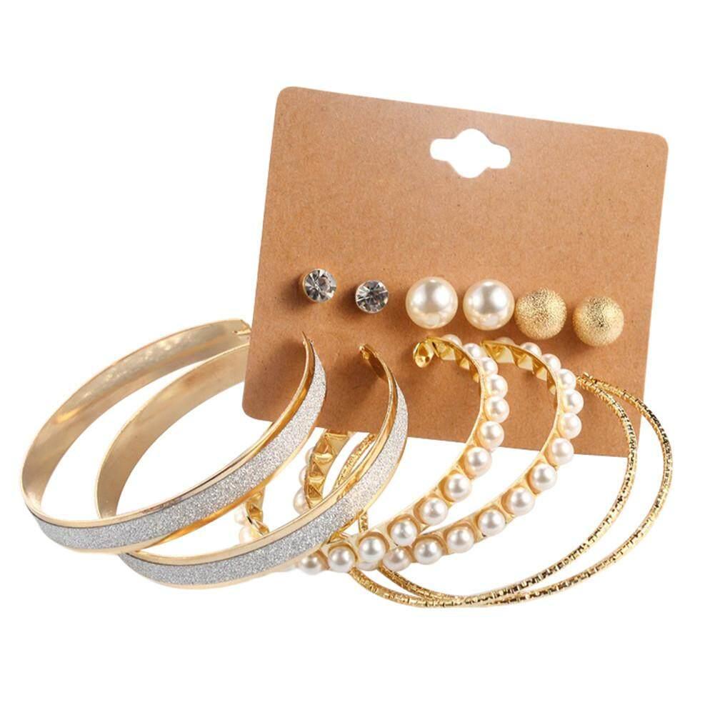 Bodhi Fashion Women 6 Pairs Faux Pearl Big Circle Ear Hoops Stud Earrings Set Jewelry By Bodhi.
