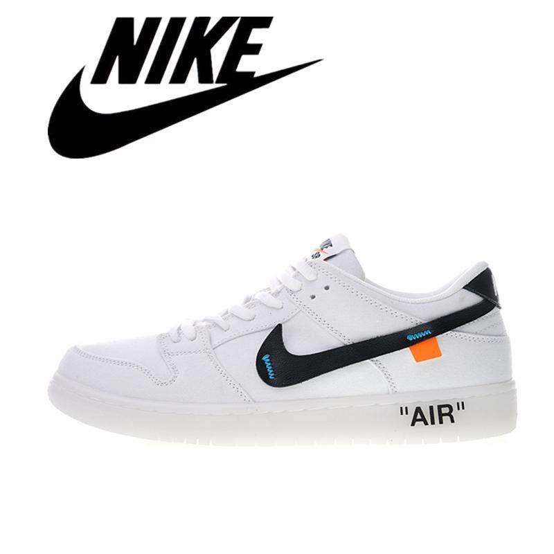 Nike_Dunk SB Off-Putih Rendah Pro Zoom Anti-Slip Pria Sepatu Skate Wanita Olahraga Sepatu OW Putih Hitam 854866-001