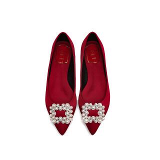 Màu Đỏ Giày Cưới Nữ Đế Bằng 2020 Năm Mẫu Mới Vải Satin Đế Thấp 3cm Hiển Thị Giày Phụ Nữ Mang Thai Phong Cách Trung Hoa Đế Thô Giày Cô Dâu thumbnail