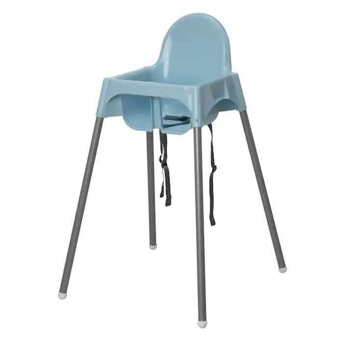 ANTILOP High Chair with safety belt, light blue, silver-colour (No Tray) (เก้าอี้สูงพร้อมเข็มขัดรัด, ฟ้าอ่อน, สีเงิน,ไม่มีถาด)