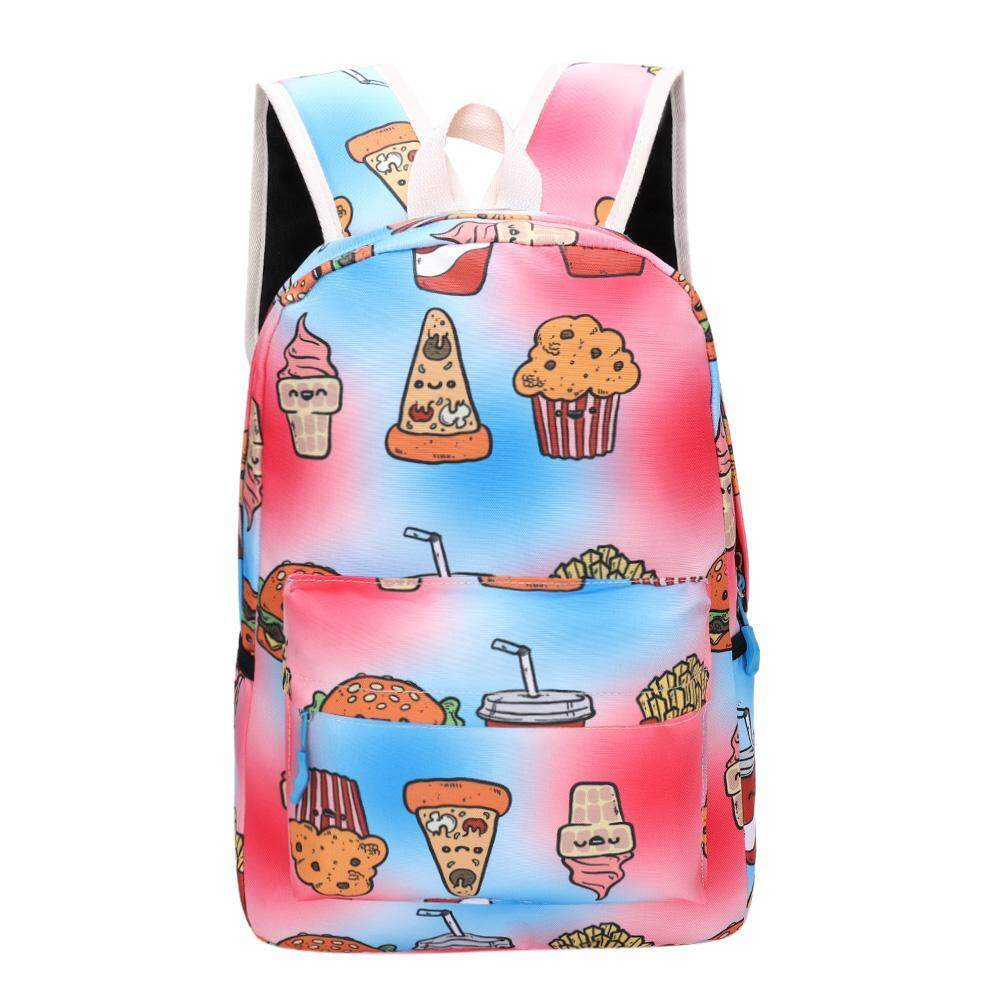 45b94ca429 Cute Women Men Food Print Canvas Backpacks Teen Travel Shoulder Schoolbags