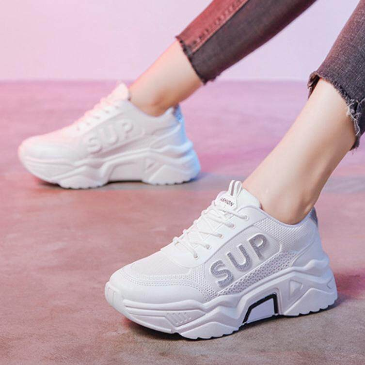 Aadine (มาใหม่) รองเท้าผ้าใบ รองเท้าแฟชั่น รองเท้าผ้าใบผู้หญิง เสริมส้น 5 ซม.no.a482.