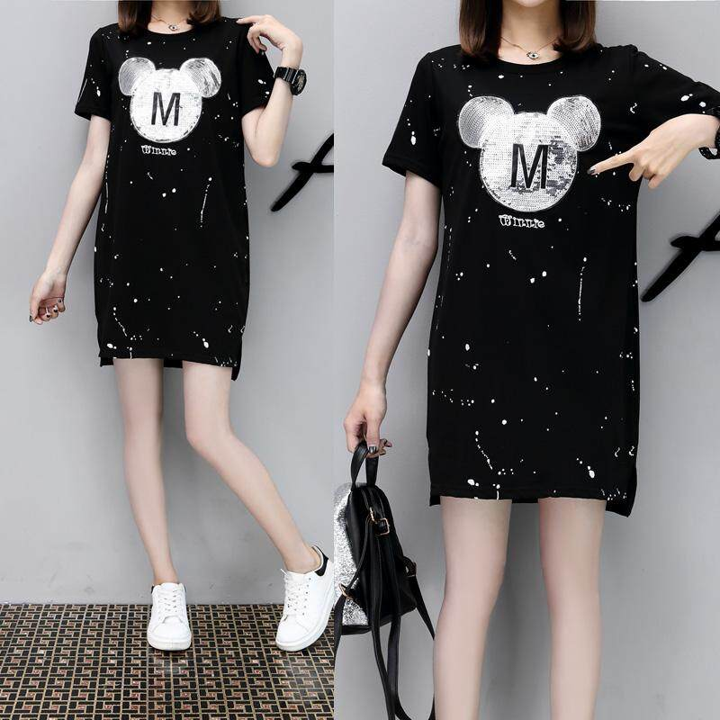 b20c4ebb50cf Large Size Dress 2019 Summer Wear New Style Fat Mm Mid-length Online  Celebrity T