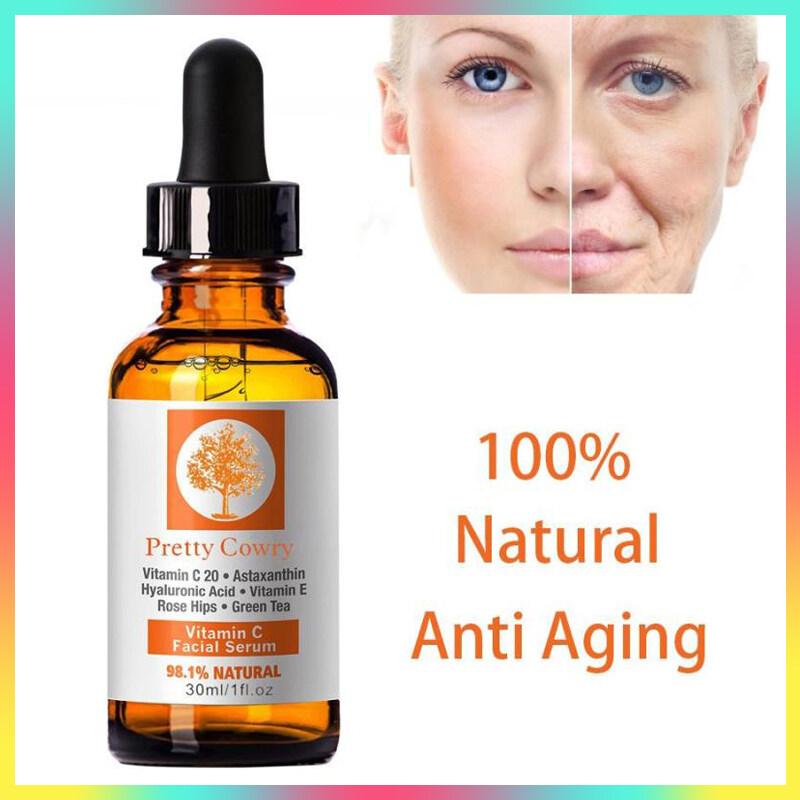 Pretty Cowry 30ml เซรั่มบำรุงผิว เซรั่มวิตามินซี เซรั่มหน้าใส เซรั่มกรดไฮยาลูโรนิก เซรั่มไวท์เทนนิ่ง เซรั่มจากธรรมชาติ Pretty Cowry Orange Vitamin C Essence Hyaluronic Acid Whitening 98.1% Natural Face Serum.