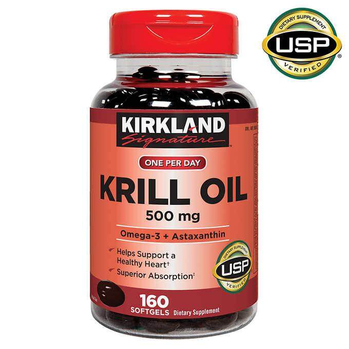 Krill Oil 500 Mg.160 Softgels. Kirkland.