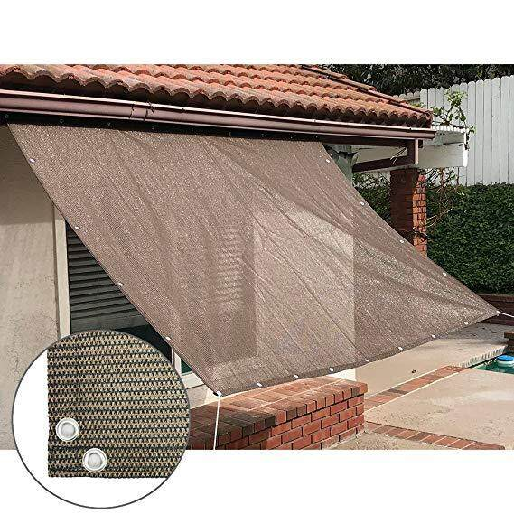 คูปอง Sun Shade Mesh Canopy Awning Privacy Screen Window Cover Hot Resistant Protection Shelter 90% UV Blocking for Gazebo Patio Garden Outdoor Greenhouse Flower Barn Kennel Fence Brown Color family : 2x5m
