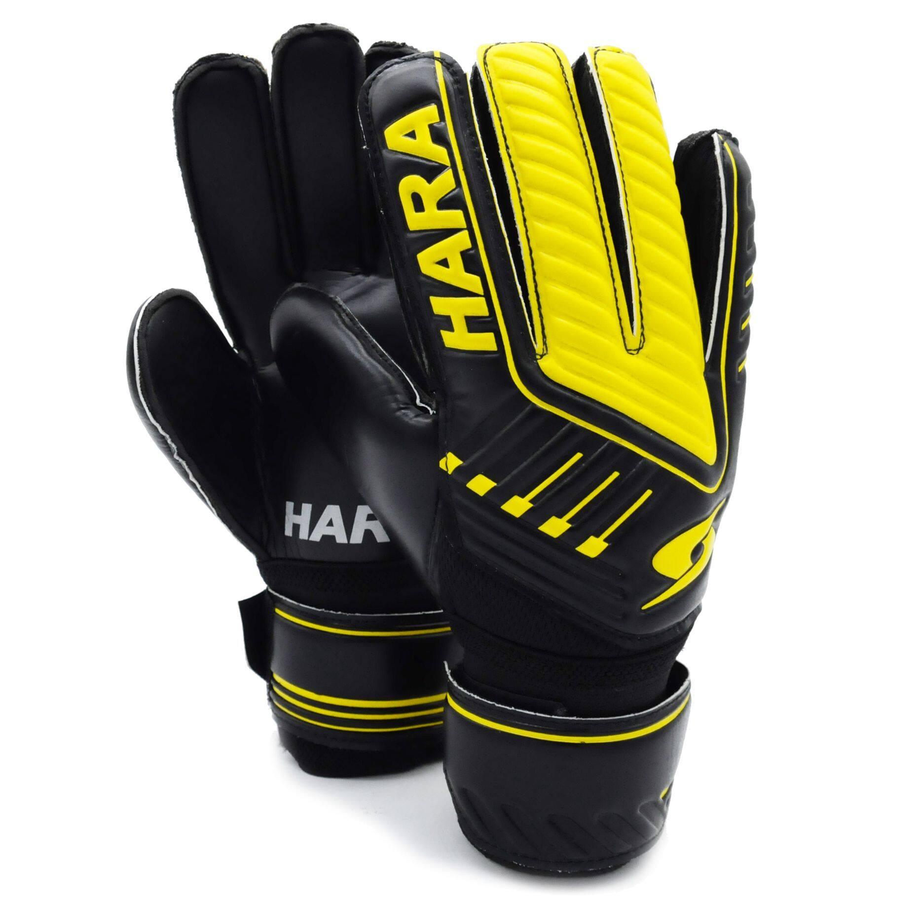 Hara Sports ถุงมือผู้รักษาประตู มีฟิงเกอร์เซฟ ถุงมือฟุตบอล สีดำ-เหลือง.