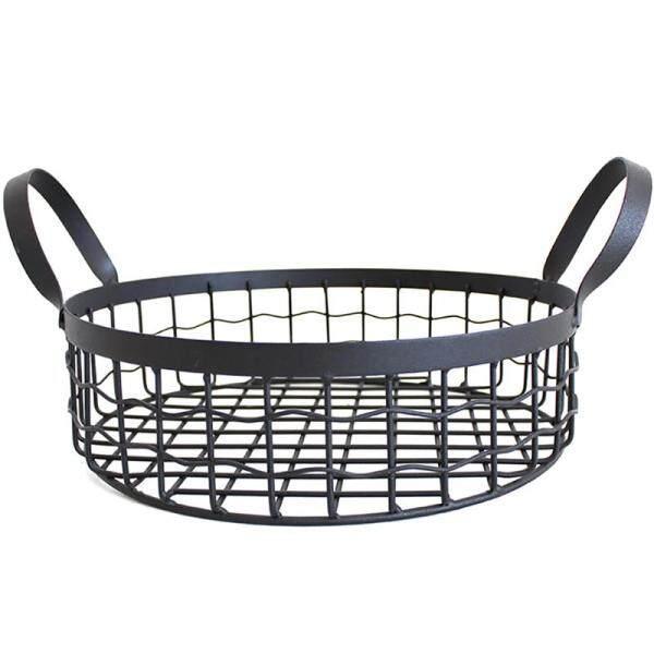 Creative Wrought Iron Storage Basket Metal Household Desktop Snack Bread Basket Binaural Fruit Basket Candy Basket Debris Basket Storage Basket Decoration