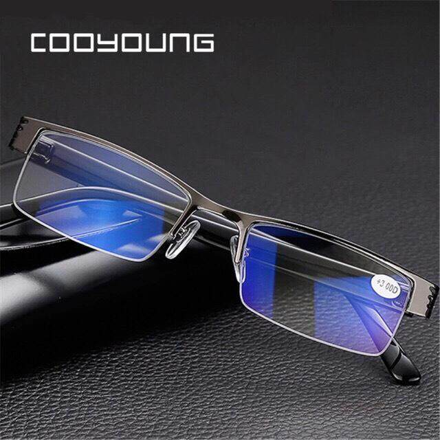 แว่นอ่านหนังสือ แว่นสายตายาว Titanium Alloy Blue Film Resin Reading Glasses Prescription Eyeglasses By Profusion9.