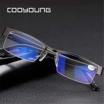 แว่นอ่านหนังสือ แว่นสายตายาว Titanium Alloy Blue Film Resin Reading Glasses Prescription Eyeglasses-