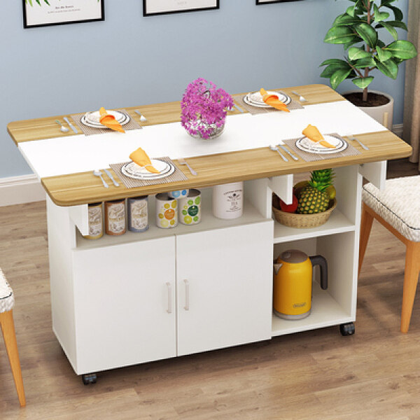 Minimalist Modern Small Telescopic Folding Dining Table Simplicity Dining Tables and Chairs Combination Rectangular China Mobile Kitchen Locker