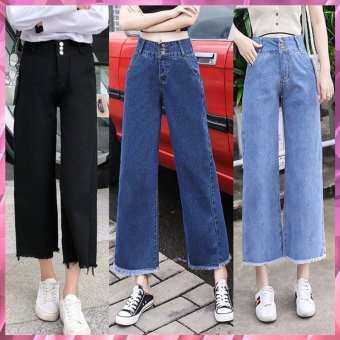 ╰☆╮KAYKAI-SHOP กางเกงยีนส์ขายาวปลายรุ่ย ทรงกระบอก ตกแต่งสามกระดุม ╰☆╮ #8005