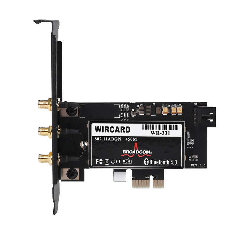 Giá WIRCARD CM94331Csax 802.11N WiFi+Bluetooth 4.0 PC Desktop WLAN Card Pci-E 1X-16X Adapter for Broadcom Mac OS & 6DB Dual Band Antenna