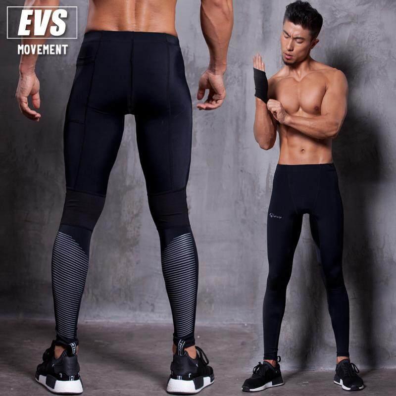 กางเกงวิ่ง มาราธอน กางเกงรัดกล้ามเนื้อ ผู้ชาย Evs Men Compression Tights Line Reflect.