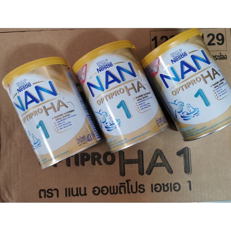 ราคา 3 กระป๋อง ราคา 920 บาท Nan HA Optipro HA สูตร 1 ขนาด 400 กรัม - Nan HA แนน ออฟติโปร เอชเอ1