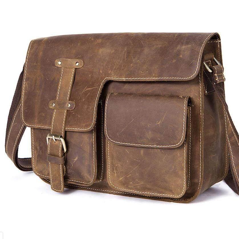 กระเป๋าผู้ชายหนังแท้  กระเป๋าหนังวัวแท้ กระเป๋าสะพายข้าง กระเป๋าสะพายไหล่ Vintage Style.
