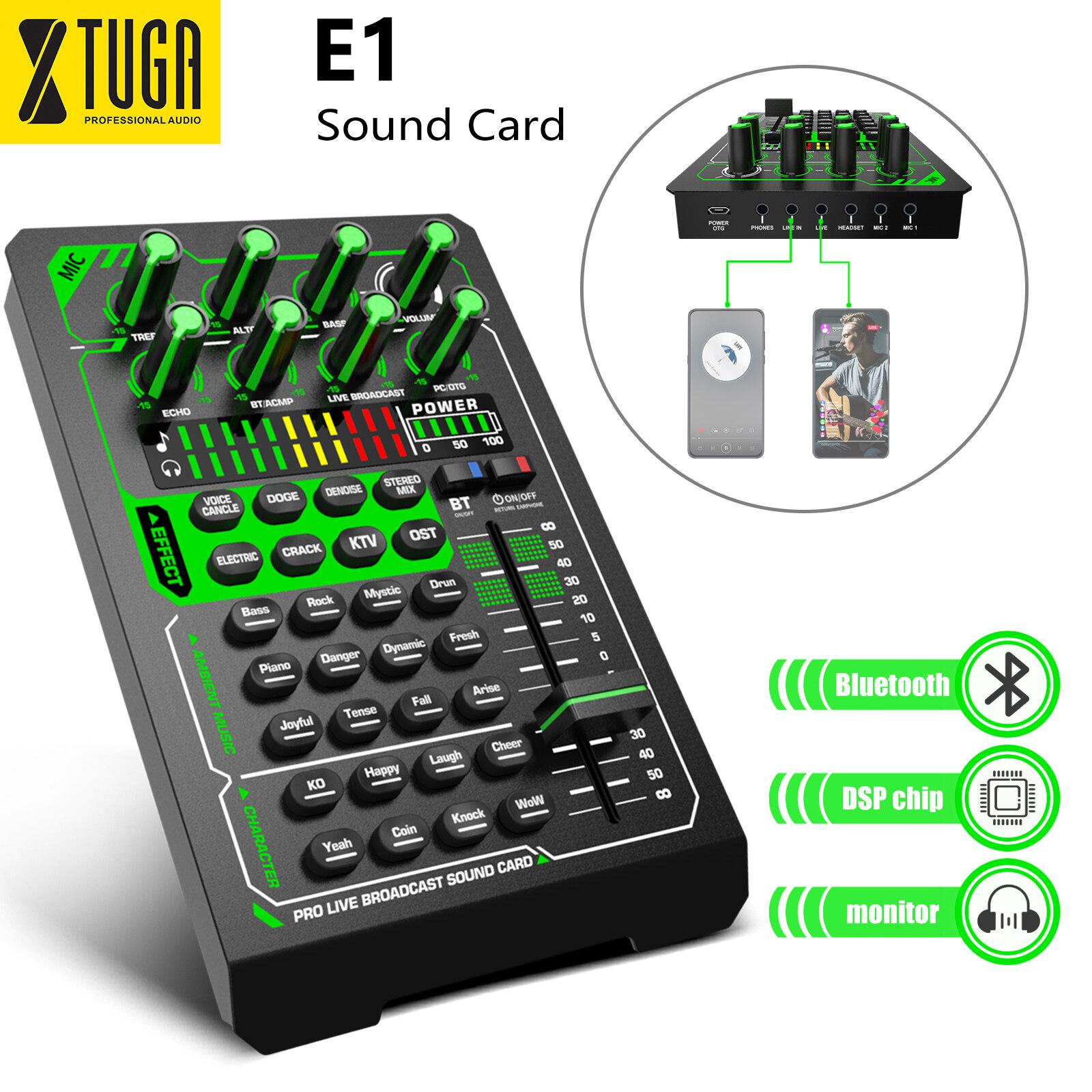 Xtuga E1 บลูทู ธ Live Sound Card ชุดอินเทอร์เฟซชุดหูฟังภายนอกไมโครโฟนสเตอริโอสำหรับโทรศัพท์ Pc Youtube Tik-Tok Live Record.