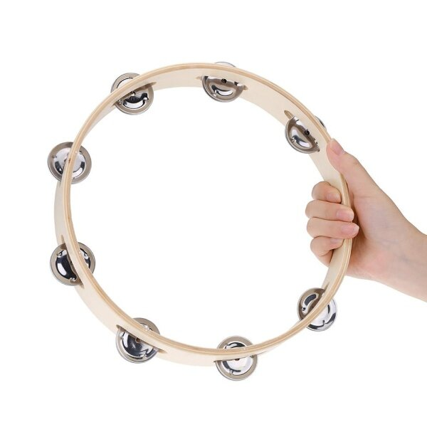 okoogee Kids 10 Hand Held Wood Headless Tambourine Bell with Metal Single Row Jingles and Wood Quality Children Educational Musical Percussion Toy for Party Dancing Games Malaysia
