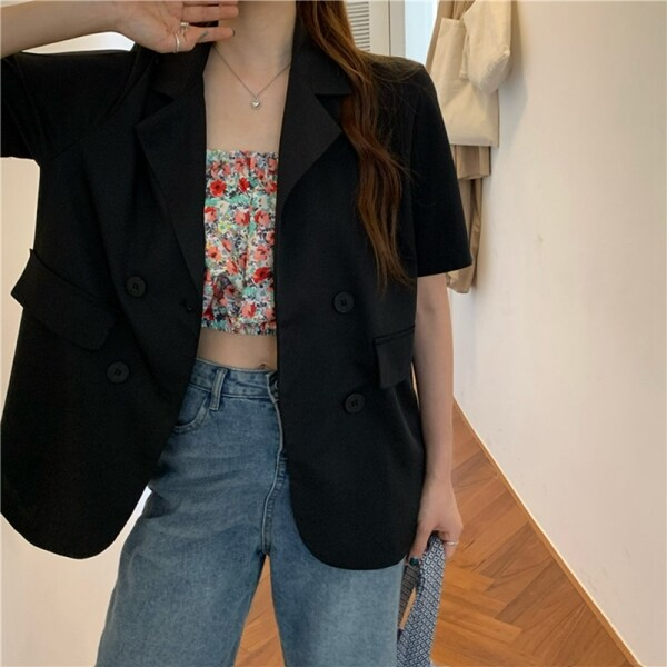 Korean Summer Candy Color Wild Multicolor Loose Short-Sleeve Suit Jacket One Size