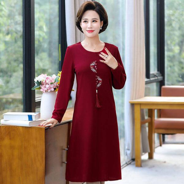 váy mùa xuân và mùa thu cho phụ nữ trung niên và cao tuổi 54