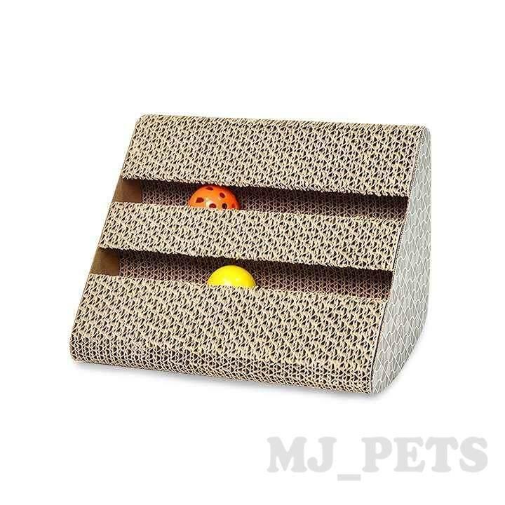 Mj-ที่ลับเล็บแมว สามเหลี่ยม รางบอล2 ชั้น (สีขาว).