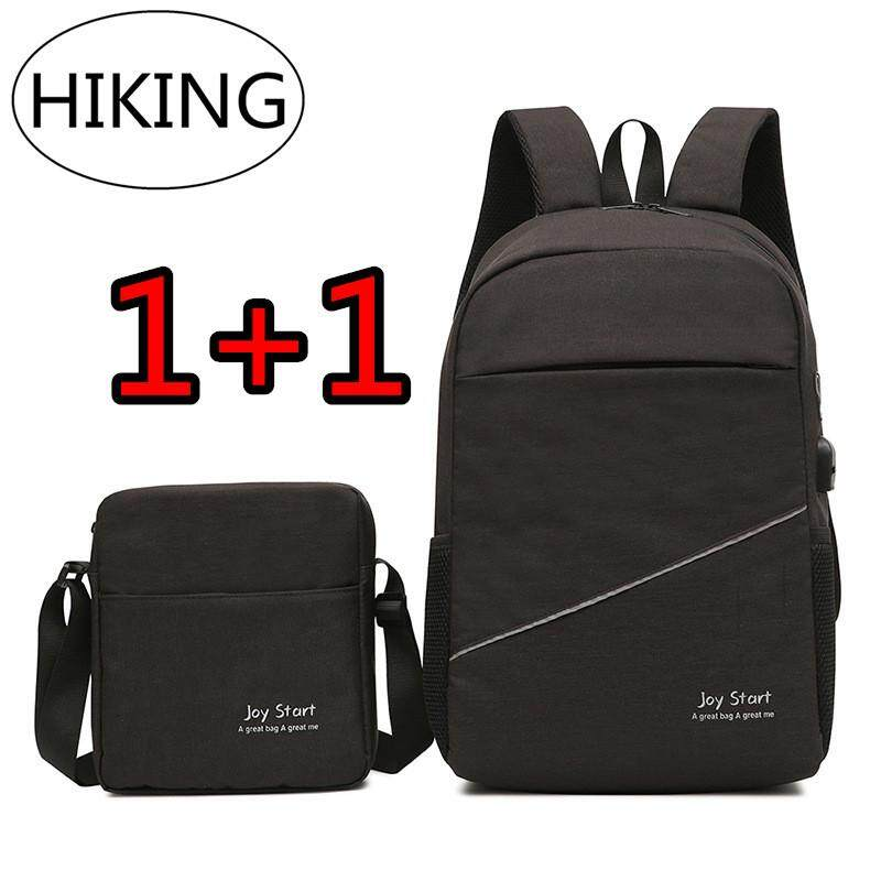 Hiking Multifunction Usb Charging (ซื้อใบใหญ่แถมใบเล็ก) แฟชั่นกระเป๋าสะพายชายเยาวชนกระเป๋าเป้สะพายหลังกระเป๋านักเรียน กระเป๋าเดินทาง แบคแพ็ค Back Pack กระเป๋าสะพายพาดลำตัว By Hiking Store.