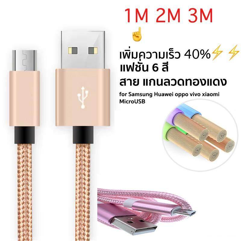 1m 2m 3mสายชาร์จแบบผ้า สายชาร์จแอนดรอยด์ สายชาร์จmirco Usb หัวเว่ย ซัมซุง Samsung ออปโป วีโว่ Android Microusb Charge Cable By Skyshop0.